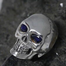 dr. skull Ketten Anhänger 925 Silber echt Saphir Augen Totenkopf Biker Gothic 02