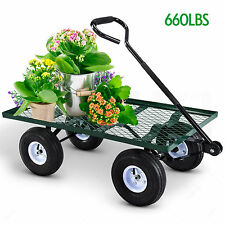Mesh Desk Utility Garden Wagon Nursery Cart Wheelbarrow Steel Trailer Lawn Yard