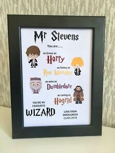 Personalised Harry Potter Framed Print Teacher Leaving Gift Nursery School Pre
