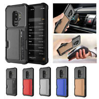 Magnetic Car Holder & PU Leather Case Cover For Samsung Galaxy Note 9 S9 S9+ S10