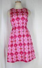 ELLEN & OLLIE Sun Dress 2 XS Pink Yellow Retro Print Cotton Stretch Lined Sheath