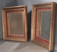 Pair Antique Eastlake Hudson River Lemon Gold Picture Frame 14x12 Mirror Velvet