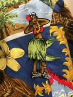 Vtg Aloha Howie Hawaiian Shirt Mens Medium San Francisco Tiki Ukelele Hula Girl