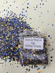 Nail Art Mixed Glitter ( Hocus Pocus )10g Bag  Chunky Dots Blue Gold Metallic