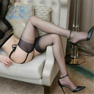 5D Ultra-thin Sheer Retro Nylon Inelastic Sexy Thigh High Stockings Long Socks