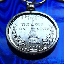 "Platinum Plated MARYLAND 2000 Mint Quarter Pendant & 30"" 925 Silver Snake Chain"
