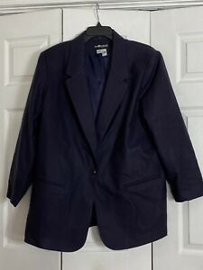 Sag Harbor Woman Size 22W Navy Blue Wool Blazer Jacket 1 Button Women's