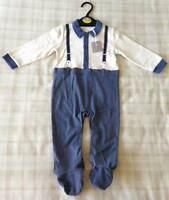 Boys Shirt, Jeans & Braces All In One Babygrow Outfit/Fancy Dress/Costume 9-12m