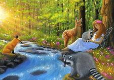 Red fox deer raccoon summer angel fairy forest fantasy OE aceo print art