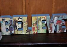 NEW~BELIEVE Chunky Word Sign~VINTAGE Snowmen & Children~Primitives by Kathy