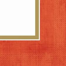 Poppy Red Border Solid Color Garden Wedding Party Paper Luncheon Napkins