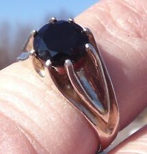 NEW Silver RING (Men or Women) 8mm Round Facet/Cut 2.14ct Jet Black SPINEL