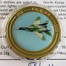 Mig - 29 2003 plaqué or Preuve 39 mm médaille de couleur Centre-COA