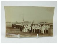 Antique early 20th century photograph regiment of soldiers on display