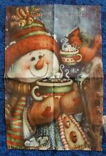 "12"" X 18"" Snowman Christmas Flag Hot Cocoa Cardinal New"