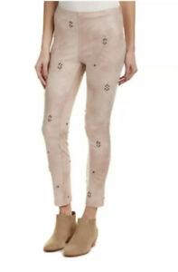 Free People Ballet Pink Stud Embellished Vegan Leather Leggings Size 26 NWT