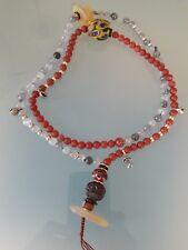 Buddhist Red Agate-Grey Quartz 8mm Mala w/ Old Peking Glass and Lotus Guru Bead.
