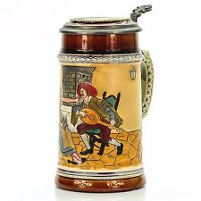 J.W. Remy 1291 Antique Etched Lidded German Beer Stein - A Couple with Guitar