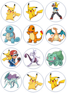 Pokemon Edible Wafer Paper Cupcake Toppers x 12