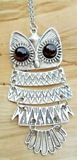 Owl Large Silver Effect Articulated Pendant 68cms Long Chain NEW with Tags
