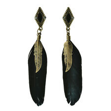Fashion Feather Drop Earrings Vintage Crystal Bronze Leaf Long Earrings GT