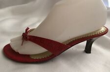 CL Laundry Womens 6.5 M Red Snake Print Thong Sandal Kitten Heel Shoes Bow Pumps