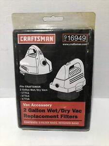 Craftsman 2 Gallon Wet/Dry Vac Replacement Filters Model 916949 3 Pack New