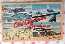 Vintage Linen Postcard Old Orchard Beach, Maine ~ Kite Race Track ~ Pier ~