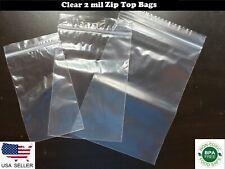 Clear Zip Top Bags Plastic Reclosable Top Lock Seal Baggies 2 mil Jewelry Zipper