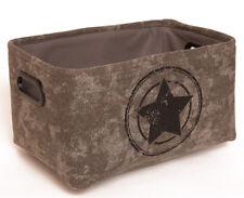 Stoffkorb grau/schwarz Stern Metallgriffe L 33cm Aufbewahrungskorb Box Dekokorb