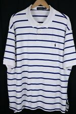 Polo Ralph Lauren Mens 4XB White Blue Striped Soft Cotton Shirt Black Pony
