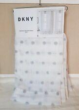 NWT 4 PC DKNY Poppy Gray Pom Pom Sheer Window Curtain Panels 50x96 - 2 Pairs