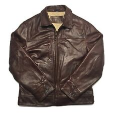 Vtg Ralph Lauren CHAPS Brown Leather Jacket Classic Soft & Supple Quilt Lined M