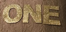 "First Birthday Decorations Gold Glitter ""ONE"""