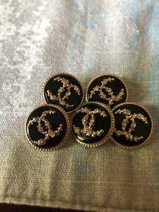 Chanel black rhinestone buttons.Set of 5. 19 mm