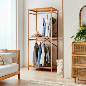 New 2021 Garment Rack Clothes Stand Hanging Rail Stand Bamboo with Top Shelves T