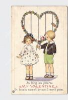 PPC POSTCARD MY VALENTINE BOY GIVES GIRL ROSE ARTIST SIGNED MEP HEART EMBOSSED