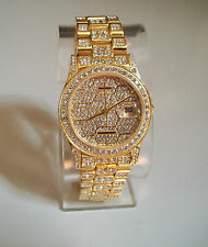MEN'S GOLD FINISH  GENEVA WIDE BRACELET CRYSTAL BEZEL WITH DATE  WATCH