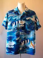"Men's Hawaiian Shirt Vintage Surf Waterfalls Aloha Tower Pocket Blue L-2XL 52"""