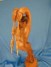 "Hand carved wood Matador figurine medium wood tone 16 1/2"" Bull Fight art swords"