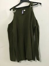 Alya Cut Out Off Shoulder Stylish Olive Green Cable Knit Sweater Size S Women