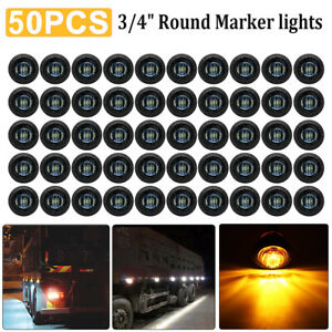 """50x Mini Round 12V Amber 3/4"""" Smoked Lens Side 3 LED Marker Trailer Bullet Light"""