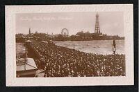 L@@K  Sunday Parade North Pier Blackpool 1900's? RP Postcard ~ CROWD
