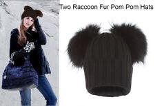 Alex Max Unique Designer Double Raccoon Fur Pom Pom Hat - Black - Italian