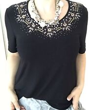 NONI B WOMENS TOO BLOUSE BLACK BEADED DHORT SLV STRETCH Work Party SZ L