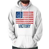 Victory Betsy Ross American Flag Patriotic US Womens Hooded Pullover Sweatshirt