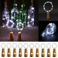 10 x Wine Bottle Cork String Lights 2m 20 LED Battery Fairy Lights Clear White