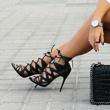 ZARA Black Lace Up Caged Leather Sandals Gladiator Heels Heel UK 5 Euro 38