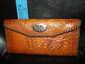 Vintage Hand Tooled  Leather Wallet / purse