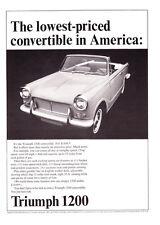 "1965 Triumph 1200 Convertible photo ""Lowest-Priced in U.S."" promo print ad"